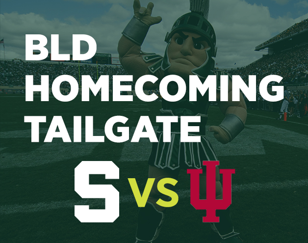 Photo of Sparty at Football Stadium Advertising Homecoming Game Between MSU and Indiana