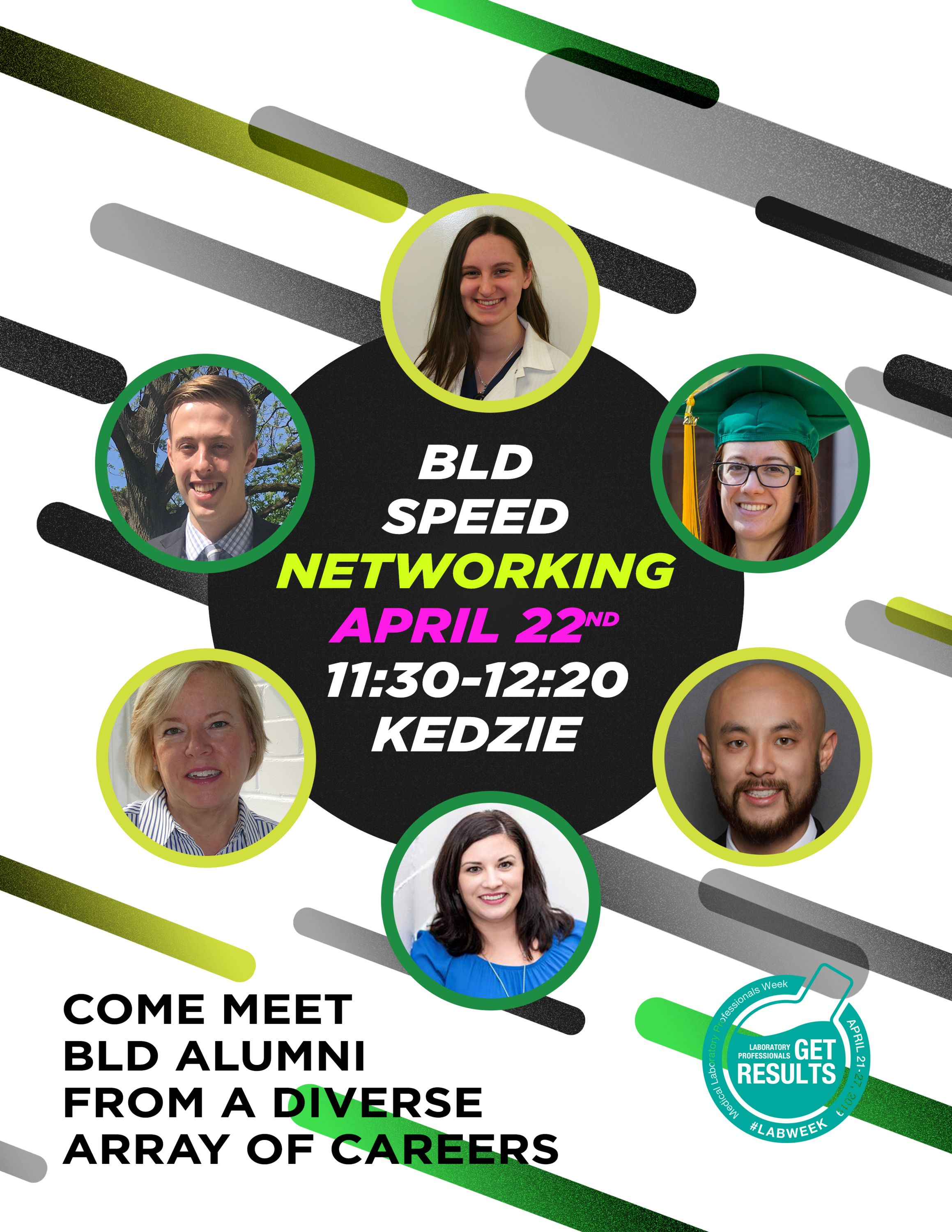 Poster with photos of BLD Alumni advertising the BLD Speed Networking Event